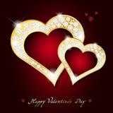 情人节卡片-与金刚石的抽象金黄心脏 免版税图库摄影