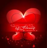 情人节发光的心脏美好的庆祝的卡片 免版税库存照片