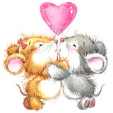 情人节和逗人喜爱的动物 库存图片