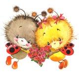 情人节和逗人喜爱的瓢虫,红色心脏 库存例证