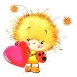 情人节和逗人喜爱的瓢虫,红色心脏 向量例证