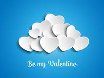 情人节在天空的心脏云彩 免版税图库摄影