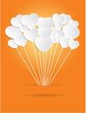 情人节在橙色背景的白皮书心脏 皇族释放例证