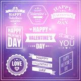 情人节套标签、象征和印刷术元素 免版税库存图片