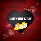 情人节心脏形状销售标签或贴纸在抽象红色背景与迷离点燃 传染媒介销售海报或 库存图片