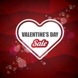 情人节心脏形状销售标签或贴纸在抽象红色背景与迷离点燃 传染媒介销售海报或 库存照片