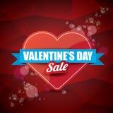 情人节心脏形状销售标签或贴纸在抽象红色背景与迷离点燃 传染媒介销售海报或 免版税库存照片