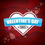 情人节心脏形状销售标签或贴纸在抽象红色背景与迷离点燃 传染媒介销售海报或 免版税图库摄影