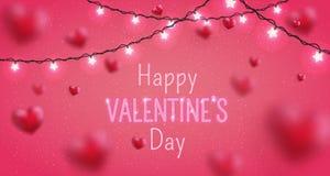 情人节快乐贺卡的发光的文本 逗人喜爱的爱横幅2月14日 免版税库存图片