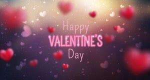 情人节快乐贺卡的发光的文本 逗人喜爱的爱横幅2月14日 库存图片