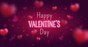 情人节快乐贺卡的发光的文本 逗人喜爱的爱横幅2月14日 免版税图库摄影