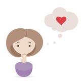 情人节愿望。 考虑爱的逗人喜爱的女孩 免版税图库摄影