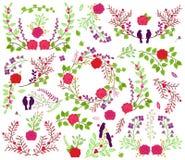 情人节或婚姻的主题的月桂树和花卉传染媒介收藏 库存图片