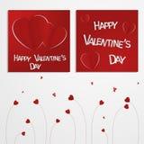 情人节摘要多卡片或背景与裁减和被折叠的纸心脏和文本 图库摄影