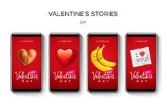 情人节故事模板 放出 在时髦样式的创造性的普遍编辑可能的集合与emoji兴高采烈的面孔 库存图片