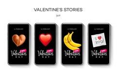 情人节故事模板 放出 在时髦样式的创造性的普遍编辑可能的集合与emoji兴高采烈的面孔 库存例证