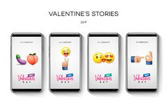 情人节故事模板 放出 在时髦样式的创造性的普遍编辑可能的集合与emoji兴高采烈的面孔 免版税库存照片