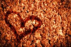 情人节概念 心脏凹道形状在健康格兰诺拉麦片棒的 图库摄影