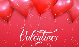 情人节横幅 与现实心形红色氦气气球和金五彩纸屑的背景 华伦泰的假日设计 向量例证