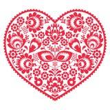 情人节民间艺术红色心脏-波兰样式Wzory Lowickie, Wycinanki 图库摄影
