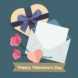 情人节的例证与邮件,giftbox的,上升了 平的传染媒介 库存图片