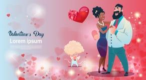 情人节礼品券假日恋人夫妇爱丘比特心脏形状 皇族释放例证