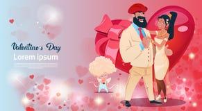 情人节礼品券假日恋人夫妇爱丘比特心脏形状 向量例证