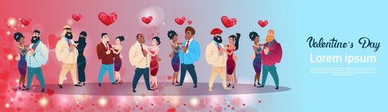 情人节礼品券假日恋人混合种族结合爱心脏形状 向量例证