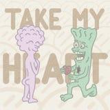 情人节礼品券 一个绿色妖怪提出他的心脏对他的紫色妖怪易碎 向量例证
