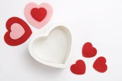 情人节红色,桃红色和白色心脏 库存图片