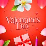 情人节背景、节日礼物和心脏 免版税图库摄影