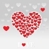 情人节背景传染媒介招呼的爱卡片设计的心脏形状 免版税库存照片
