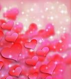 情人节背景样式心脏和光和星 免版税库存照片