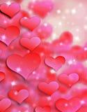 情人节背景样式心脏和光和星 库存照片