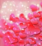 情人节背景样式心脏和光和星 库存图片