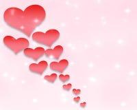 情人节背景样式心脏和光和星 免版税图库摄影