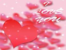 情人节背景样式心脏和光和星 免版税库存图片