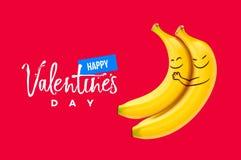 情人节背景,两个滑稽的微笑的香蕉,传染媒介例证 库存照片