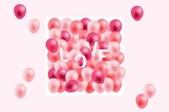 情人节背景,招呼在白皮书和桃红色丝带与飞行现实气球 向量例证,桃红色 皇族释放例证