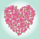 情人节设计的美好的桃红色蝴蝶花心脏背景 免版税库存图片
