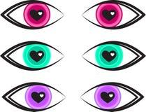 情人节逗人喜爱的心脏眼睛三颜色传染媒介 库存例证