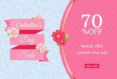 情人节销售网横幅设计模板 在蓝色花卉背景的桃红色平的丝带 与70%的圆点样式 免版税库存照片