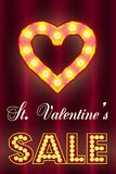 情人节销售,与电灯泡的t 免版税库存图片