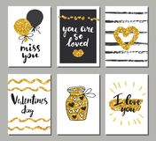 情人节集合卡片 书法、字法和金黄手拉的设计元素 库存图片