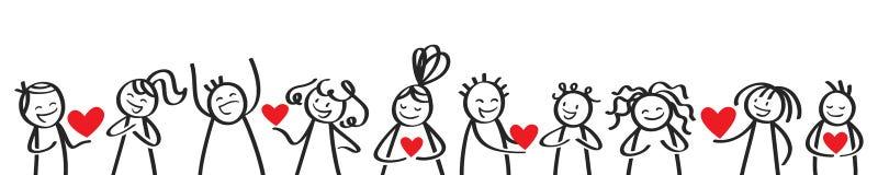 情人节,互相给心脏的棍子形象 向量例证
