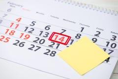 情人节,在日历的2月14日马克 郑在的概念 免版税图库摄影