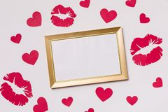 情人节,空的框架,无缝的白色背景,亲吻,心脏,消息,赠送阅本文本空间 库存照片