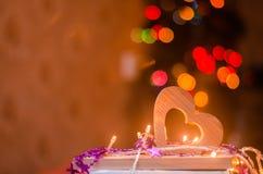 情人节,红色木心脏 图库摄影