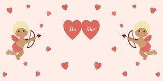 情人节:逗人喜爱的小男孩丘比特拿着一把箭头弓并且瞄准在桃红色背景的红心 向量例证