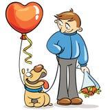 情人节-年轻人和他的狗 免版税库存照片
